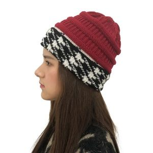 Crimson Houndstooth Red Black White Knit Cap Hat